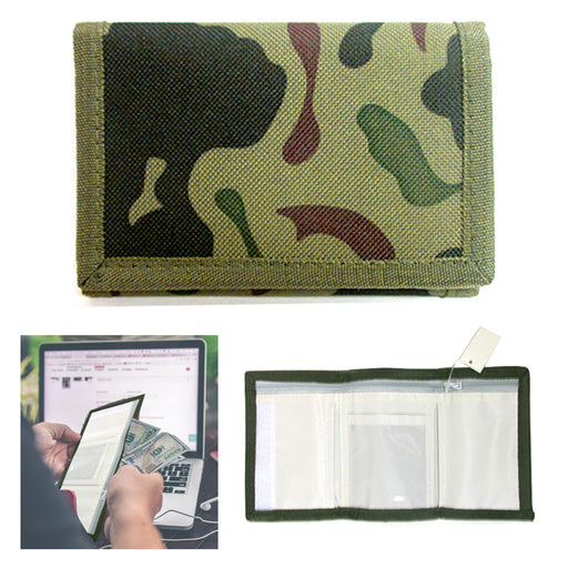 Trifold Mens Wallet Green Camo Camouflage Tactical Army Military Money Tri-fold