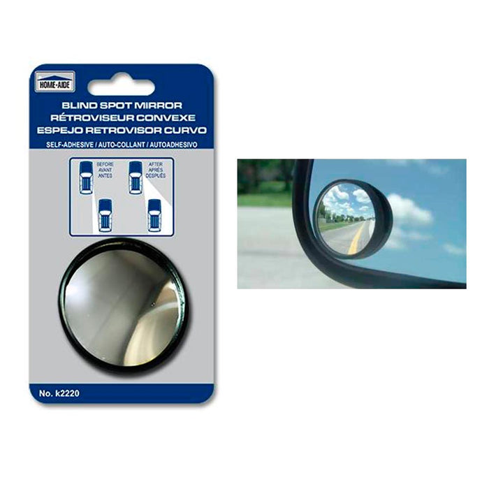 "2 Car Side View Convex Mirror 2"" Wide Rear Blind Spot Stick On Anti Glare Safety"