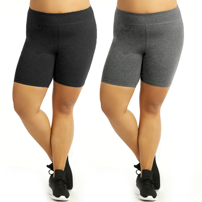 2 Womens Legging Shorts Plus Size Cotton Stretch Exercise Bike Yoga Athletic XL