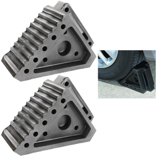 2 Pc Heavy Duty Solid Rubber Wheel Chock Handle Truck Trailer Tire Wedge Stopper