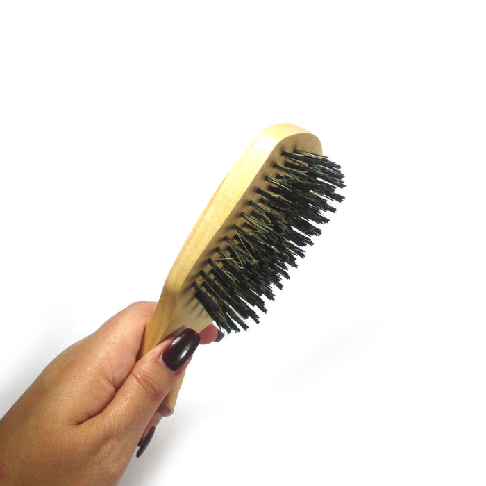 1 Boar Bristle Wave Brush Wood Firm Hair Comb Wooden Reinforced Natural Boar