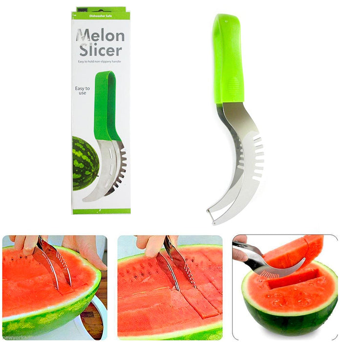 Melon Slicer Watermelon Server Splitter Knife Cutter Corer Scoop Stainless Steel
