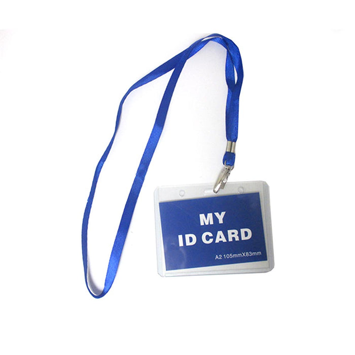 24 Pc ID Name Badge Card Holder Vinyl Clear Case Blue Lanyard Horizontal License