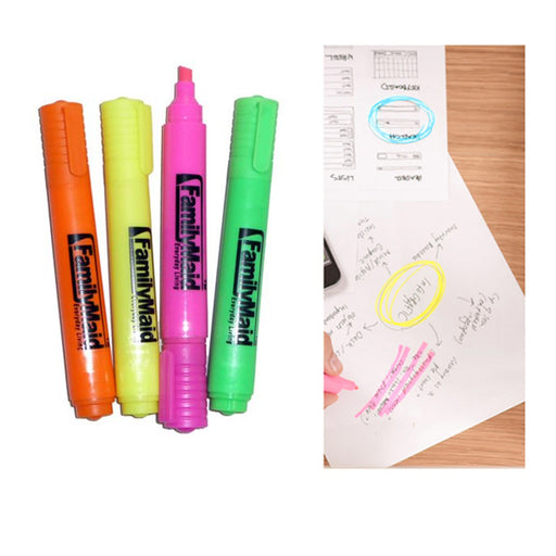 4 Pc Neon Highlighter Pen Markers Quick Dry Fluorescent Assorted Colors Office
