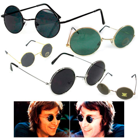 1 John Lennon Sunglasses Round Shades Gold Black Frame Lenses Retro Hippie Party