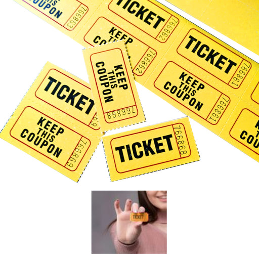 1000 Pc 50/50 Double Stub Raffle Tickets Split Coupon Entry Fair Party Yellow 2""