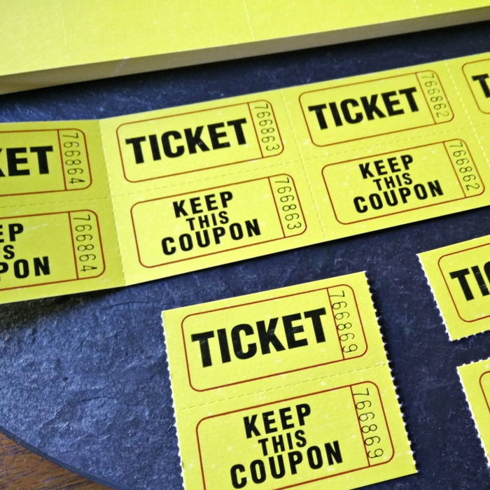 2000 Pc 50/50 Double Stub Raffle Tickets Split Coupon Entry Fair Party Yellow 2""