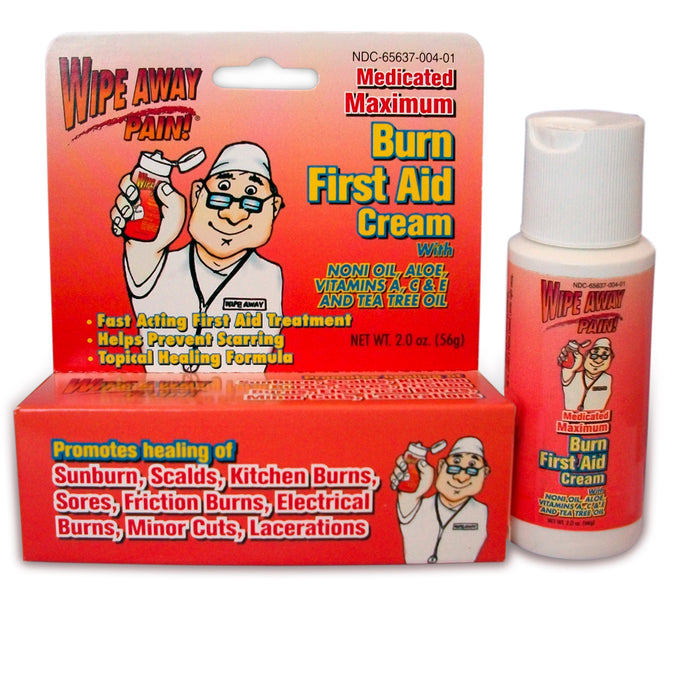 Burn First Aid Cream Medicated Skin Relief Wipe Away Wounds Abrasions Cuts 2 Oz