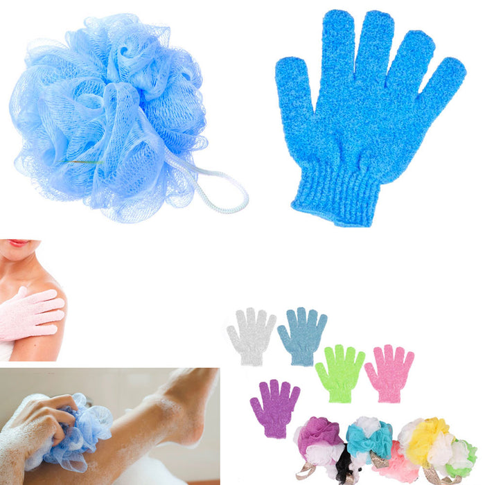 2 Pc Shower Bath Glove Ball Wash Skin Spa Massage Scrub Loofah Body Scrubber New