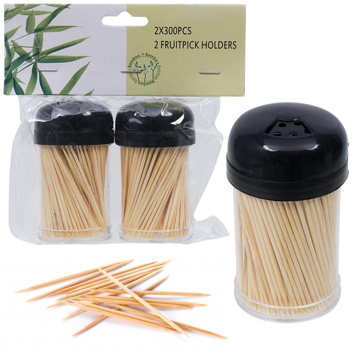 600 Wooden Toothpicks Fruit Picks Natural Bamboo Round Catering Party Oral Care