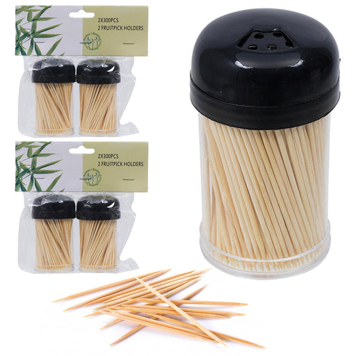 1200 Wooden Toothpicks Fruit Picks Natural Bamboo Round Catering Party Oral Care