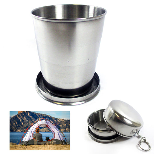 Stainless Steel Collapsible Cup Portable Outdoor Travel Folding Telescopic Chain
