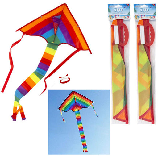 2 Kites Sky Rainbow Colors Delta Shape Flying Toy Kids Adult Parade Festival Fun