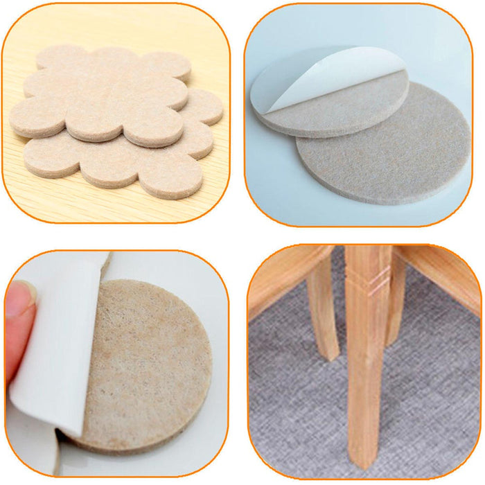 36PCS Furniture Felt Pads Self Adhesive Floor Scratch Protector Wall Table Beige