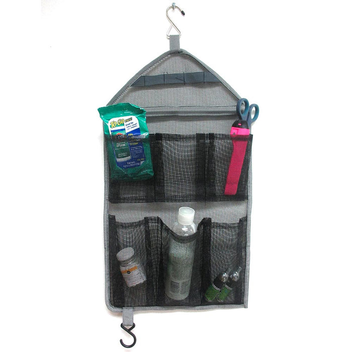 1 Hanging Mesh Organizer 6 Pockets Closet Toiletry Hook Hanger Tie Scarf Storage