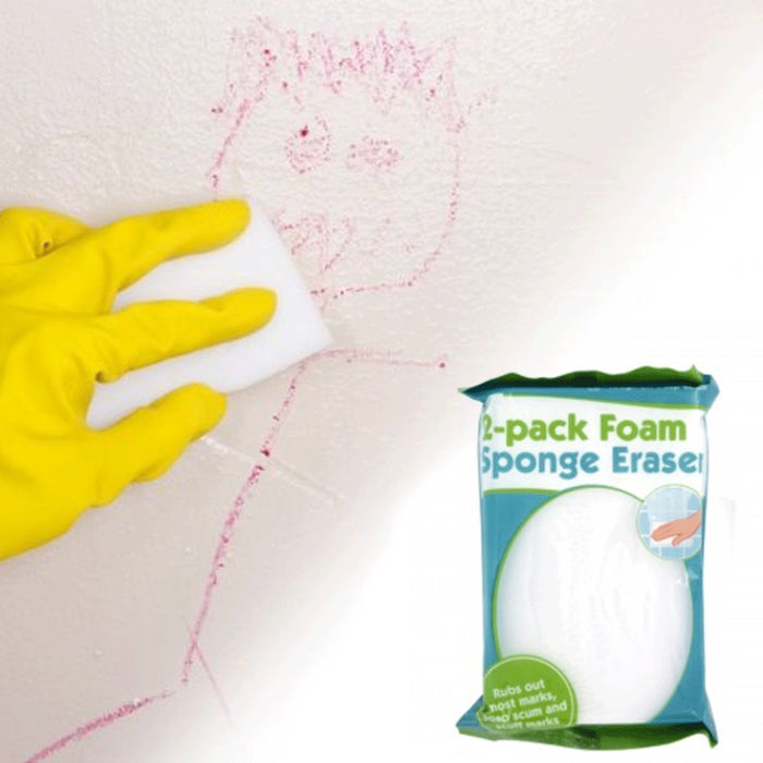 2 Pck Magic White Eraser Bath Kitchen Dish Scrubber Remove Cleaning Sponge Pads
