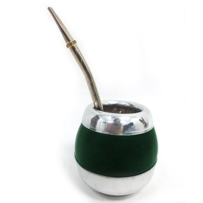 ARGENTINA MATE GOURD YERBA TEA CUP WITH STRAW BOMBILLA HANDMADE DETOX DRINK 6253