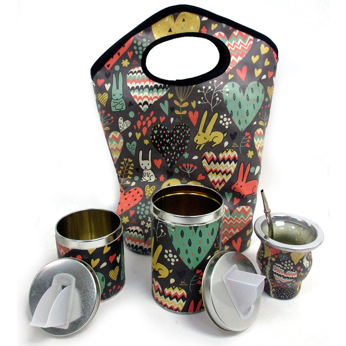 Argentina Yerba Mate Gourd Kit Cup Straw Bombilla Bag Herb Container Drink 6178