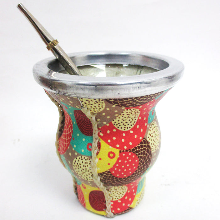 Argentina Yerba Mate Gourd Kit Cup Straw Bombilla Bag Herb Container Drink 6185