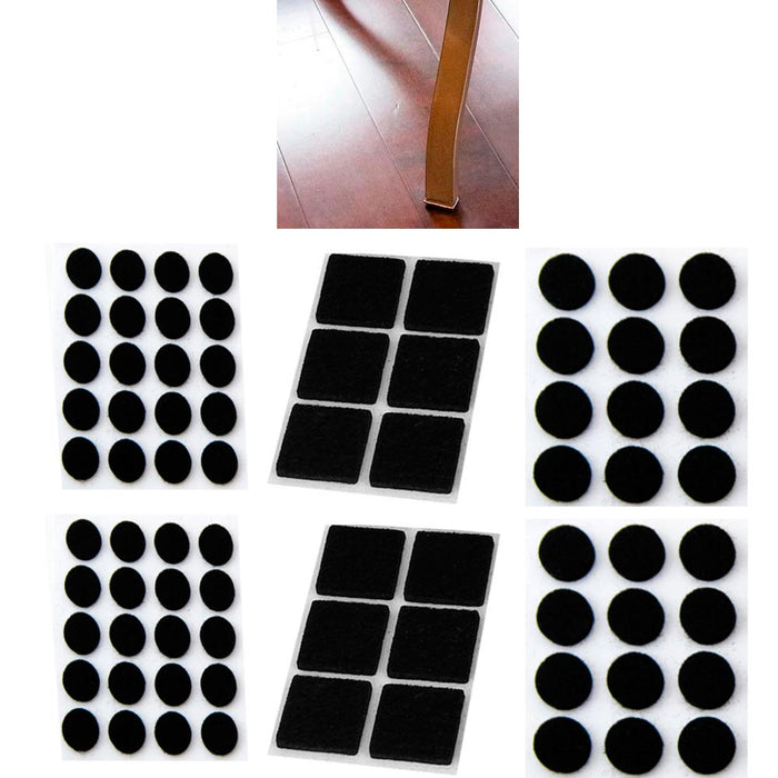 76 X Self Adhesive Shapes Felt Pads Furniture Floor Scratch Protector Black New
