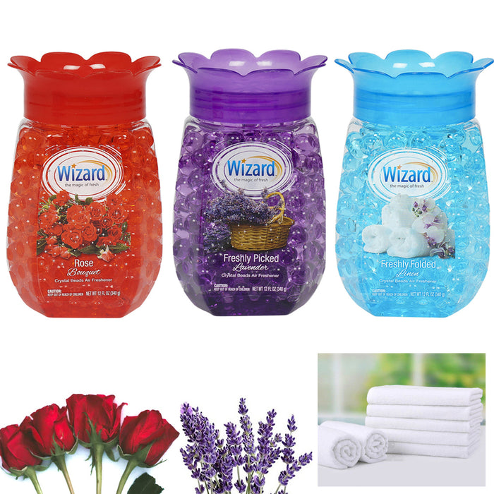 3 Wizard Rose Lavender Linen Scented Crystal Beads Air Freshener Fragrance Aroma