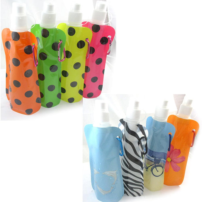 4 PC Flexible Collapsible Foldable Reusable Water Bottles Bag Camp Gym BPA Free