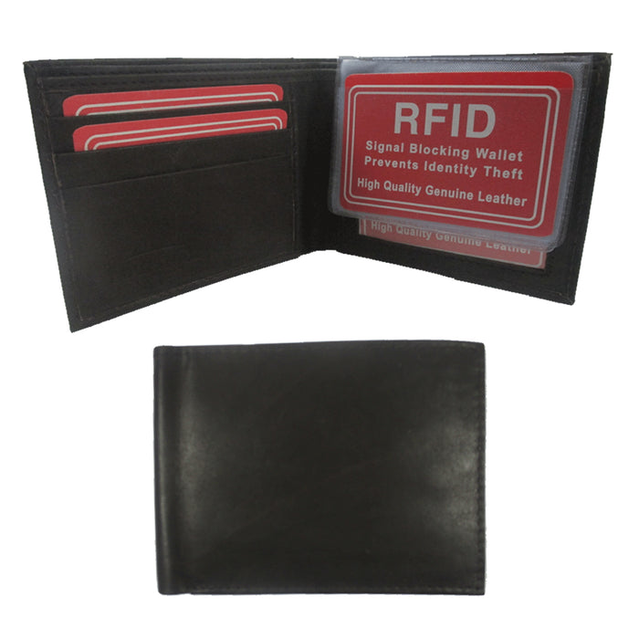 Mens RFID Wallet Blocking Genuine Leather Bifold Credit Card ID Slot Holder New