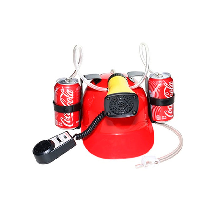 Beer Soda Guzzler Helmet Drinking Hat Mic Siren 7 Sounds Red Party Novelty Gift