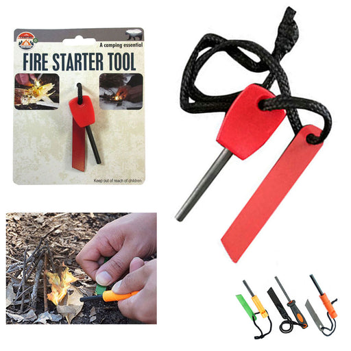 Flint Steel Striker Magnesium Rod Fire Starter Hunting Survival Kit Camping Tool