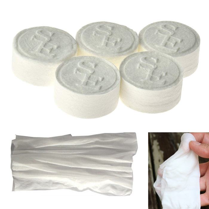 48 X Tablet Wash Cloths Compressed Towels Capsules Camping Wipes Survival Kits