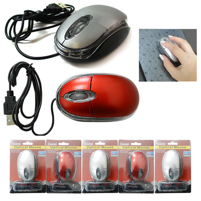5 Pack Wired USB Optical Mouse Light Scroll Wheel Mice Laptop Computer PC  Black
