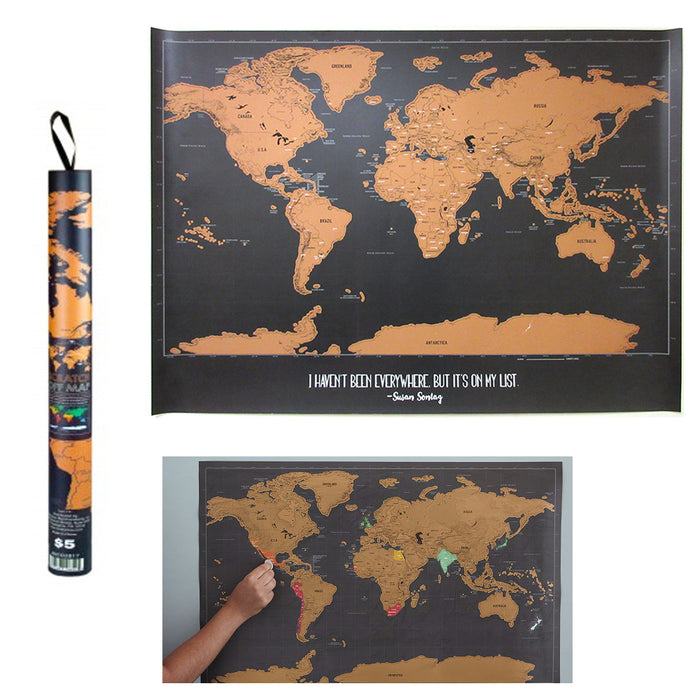 "1 X Scratch Off World Map Poster Journal Log Giant Map Of The World Gift 23""X30"""