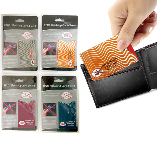 4 X RFID Blocking Sleeve Credit Card Protector Bank Card Holder Wallets Assorted