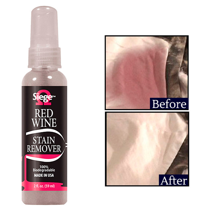 1 Red Wine Bleach Free Stain Remover Cleaner Siege Biodegradable 2oz Solution