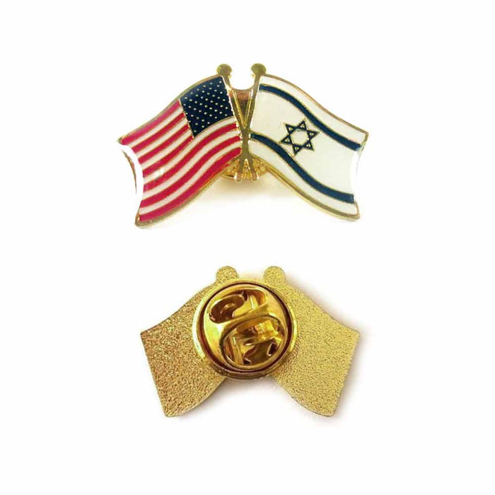 10 Israel USA Crossed Friendship Flag Lapel Pin Support Patriotic Enamel Badge