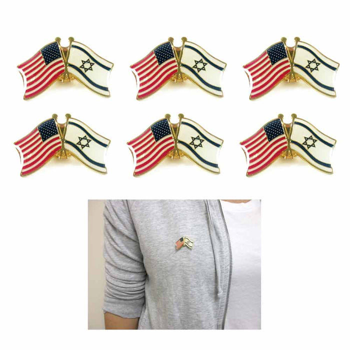 6 USA Israel Crossed Friendship Flag Enamel Lapel Pin Support Badge Patriotic