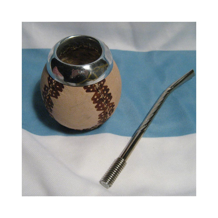 Argentina Mate Gourde Yerba Tea Drinking Straw Bombilla Carved Handmade Kit 0164