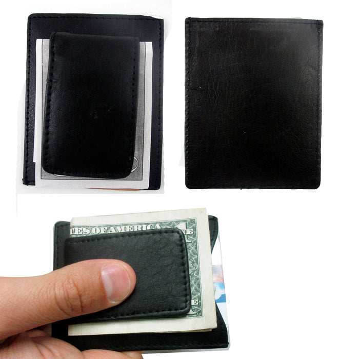 dc79d5b9b865 Mens Leather Black Money Clip Slim Pocket Wallet Magnetic ID Credit Ca —  AllTopBargains