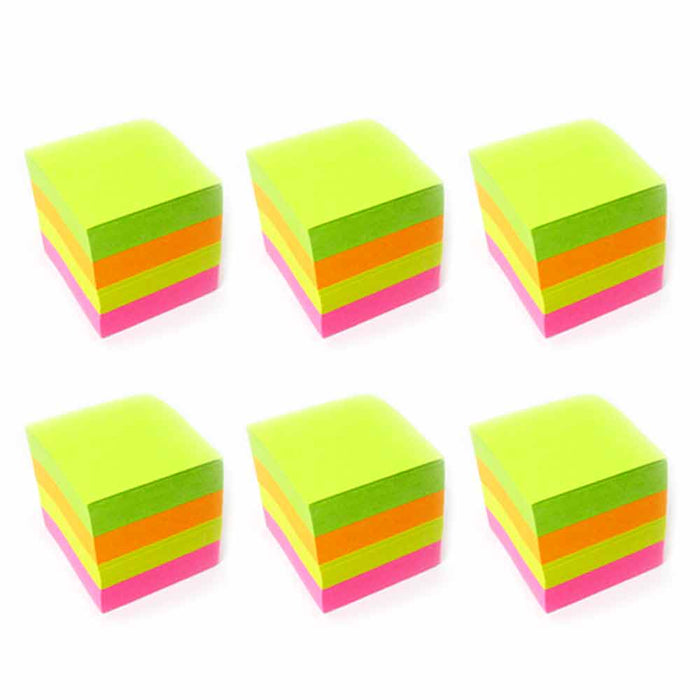 "6 Mini Sticky Notes Memo Pad Cube 2400 Sheets Self Adhesive Reminder 1.5"" x 1.5"""