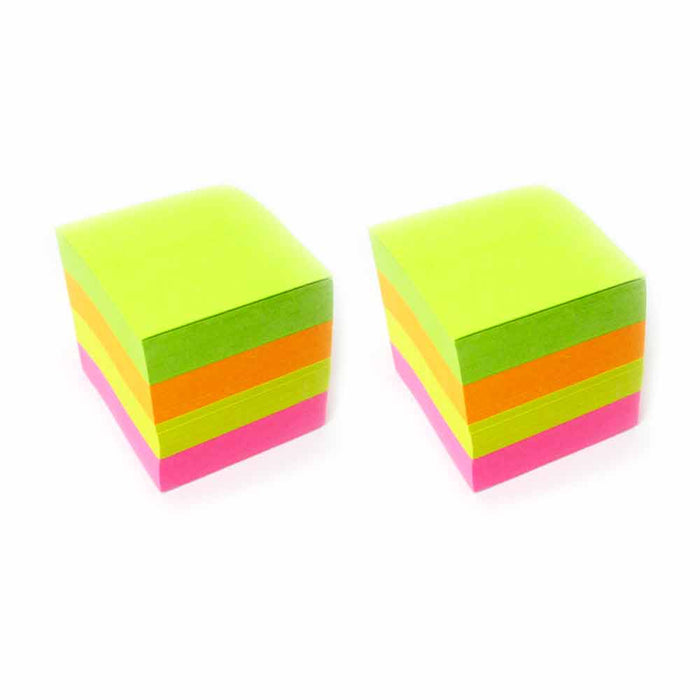 "2 Pk Sticky Notes Cube 800 Sheets Mini Memo Pad Self Adhesive Grocery 1.5""x1.5"""