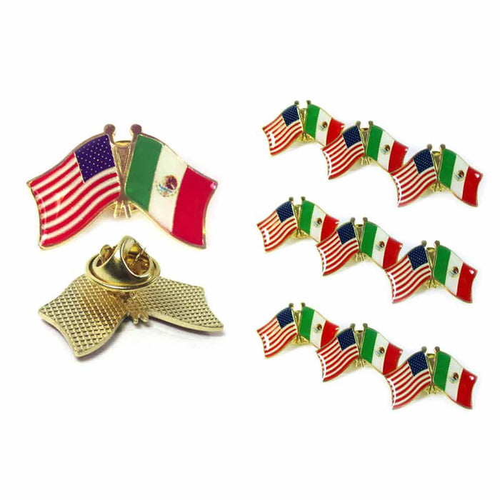 10 Mexico USA Crossed Friendship Flag Lapel Pin Support Patriotic Enamel Badge