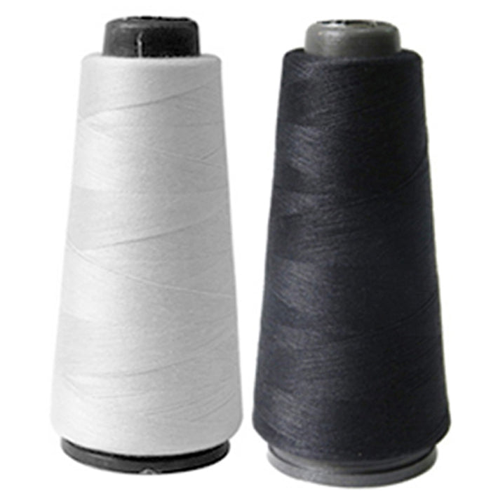 2 Spools Black White Sewing Thread 1000 Meters 3280 Feet Sew Fabric Upholstery