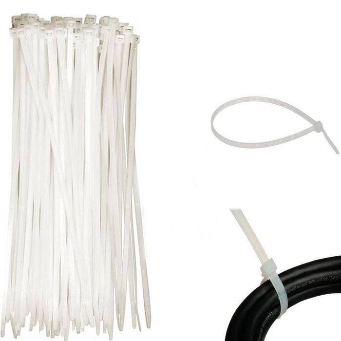 100PC 8 Inch Cable Ties Heavy Duty 30 lbs Nylon Plastic Wrap Zip Ties Cord Clear