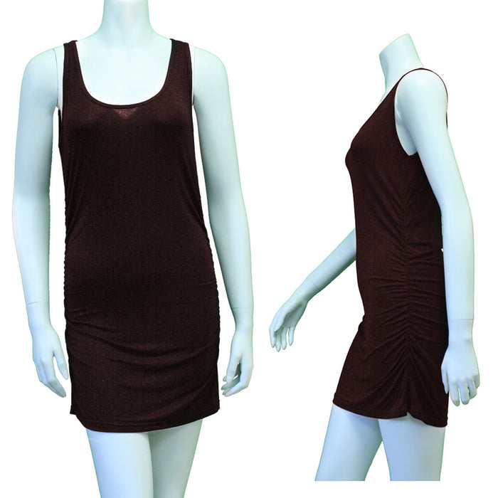 Womens Slip Dress Cami Camisole Vest Seamless Mini Tunic Tank Top Solid Brown S