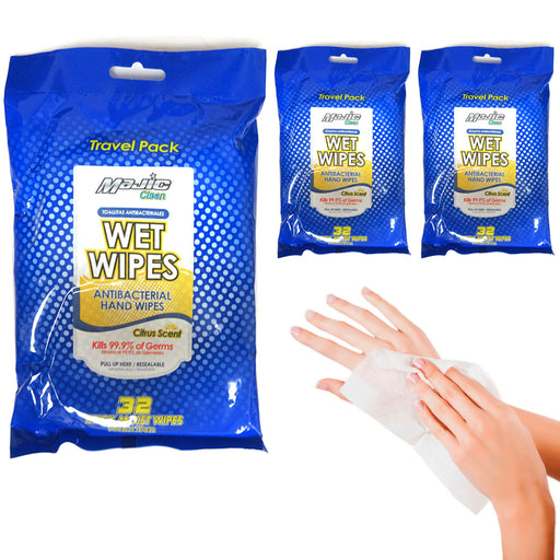 192 Ct Travel Moist Hand Wet Wipes Citrus Scent Cleaning Towelette