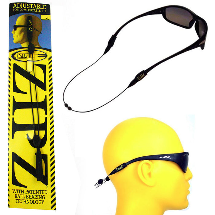"CABLZ Sunglasses Glasses Holder ZIPZ Black 14"" Adjustable Eyewear Retainer Sport"