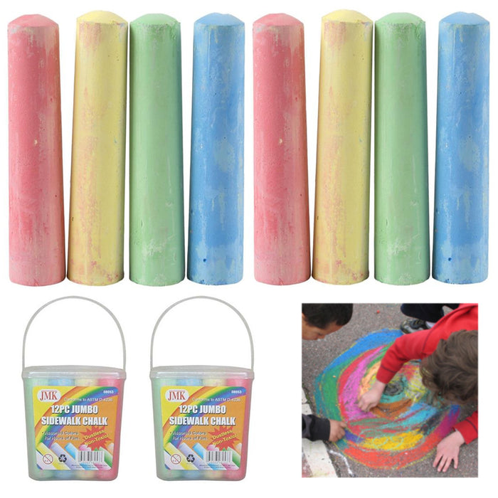 24 Pc Jumbo Dustless Chalk Sticks Washable Sidewalk Playground Outdoor Non Toxic