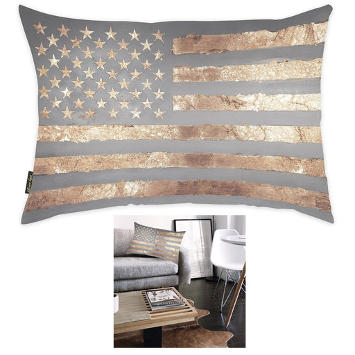1 X Gold USA Flag Design Decorative Throw Pillow Cushion Plush Insert Case Sofa