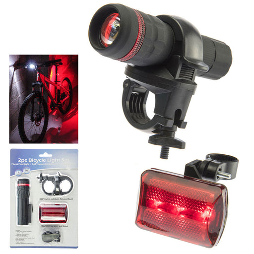 2 Pc Bicycle Light Set 3 LED Headlight Red Taillight Bright Front Rear Safety