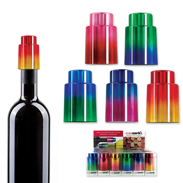 1 Ever Cork Vacuum Wine Stopper Sealer Plug Bottle Silicone Reusable Colors Gift